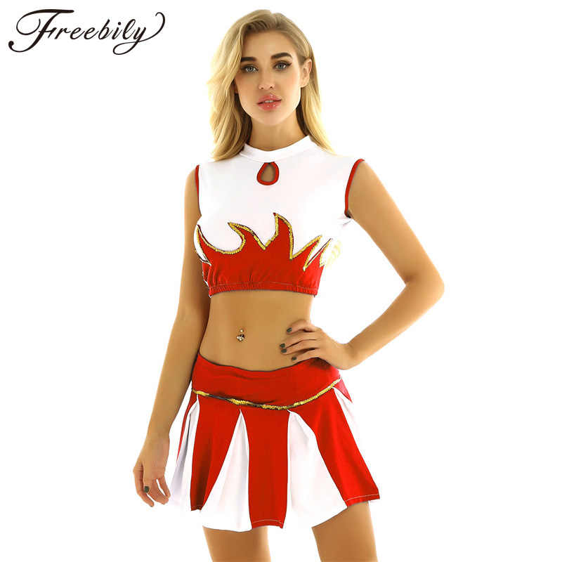 2Pcs Frauen Mädchen Cheerleading Uniformen Cosplay Cheerleader Kostüm Outfit Mock Neck Sleeveless Crop Tops Plissee Rock + Shorts