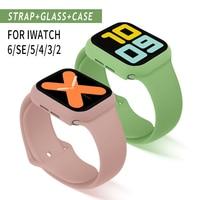 Glas + Strap für Apple Uhr Band 38mm 40mm 42mm 44mm Screen Protector + Fall + gürtel Zubehör Armband IWatch Serie 6 5 4 3 Se 40