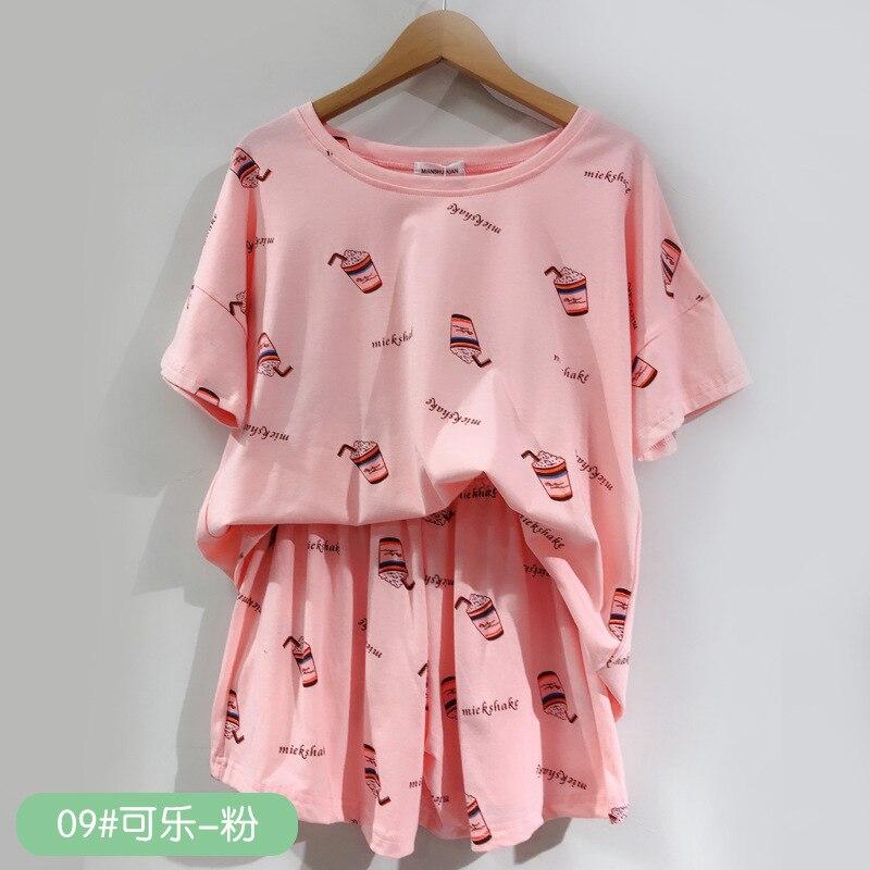 QWEEK Pyjamas Women Sleepwear Pajamas Cotton Lounge Wear Pijamas Mujer Casual Summer Homewear Set Shorts And T-shirt 2020