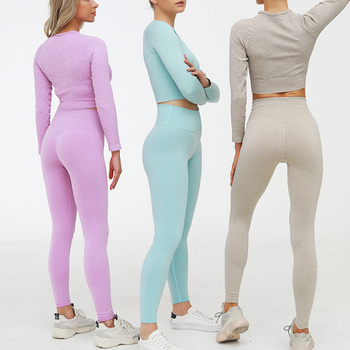 2 Piece Set Women Ribbed Seamless Long Sleeve Yoga Sets Workout Clothes for Women High Waist Sports Legging Long Sleeve Top 3