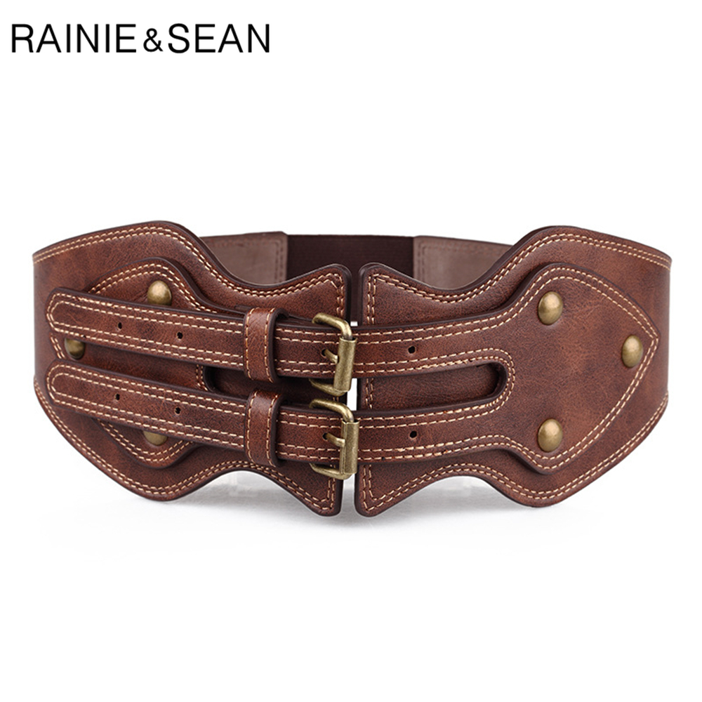RAINIE SEAN Womens Wide Leather Belt Punk Rivet Female Belts Cummerbunds Brown Ladies Elastic Corset