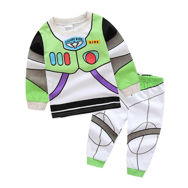 1-7y juguete historia Woody Buzz Lightyear conjuntos de pijamas de niñas y niños ropa de pijamas de dibujos animados 2 uds conjunto
