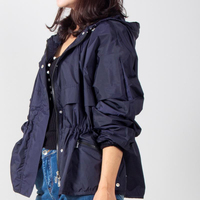 short trench coat for women big pockets Leisure coat Womens Trendy Vintage Students windbreaker Zipper waist fitted thin trench