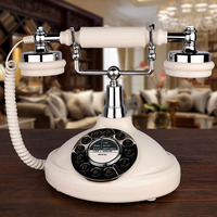 retro Landline Phone white made of ABS Antique fixed Telephone Old Corded redial for home office hotel bar reading room
