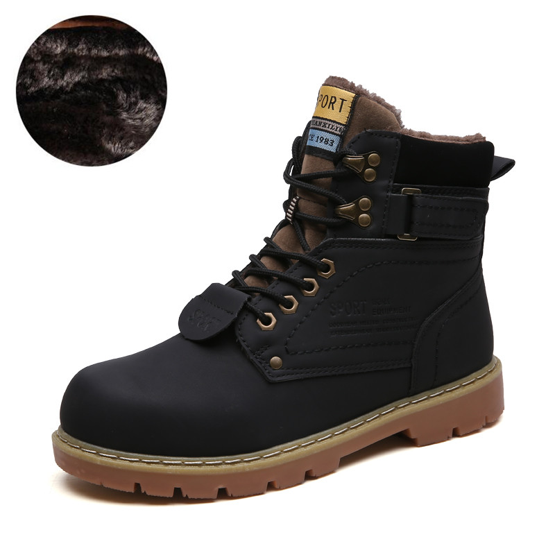 DM68 Mens Designer Shoes Warm Winter Men Boots Genuine Leather Ankle Boots Men Winter Work Shoes Men Military Fur Snow Boots