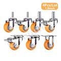 4 Teile/satz Schwenk Möbel Caster 1,5 zoll Heavy Duty 120kg Orange Swivel Castor Räder Trolley Ultra Ruhig Nylon Castor räder