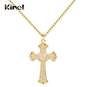 Kinel Fashion Pendant Retro Jewelry Exquisite Cross Shape Copper Inlaid Zircon Party Decoration Chain Length 58CM Wholesale