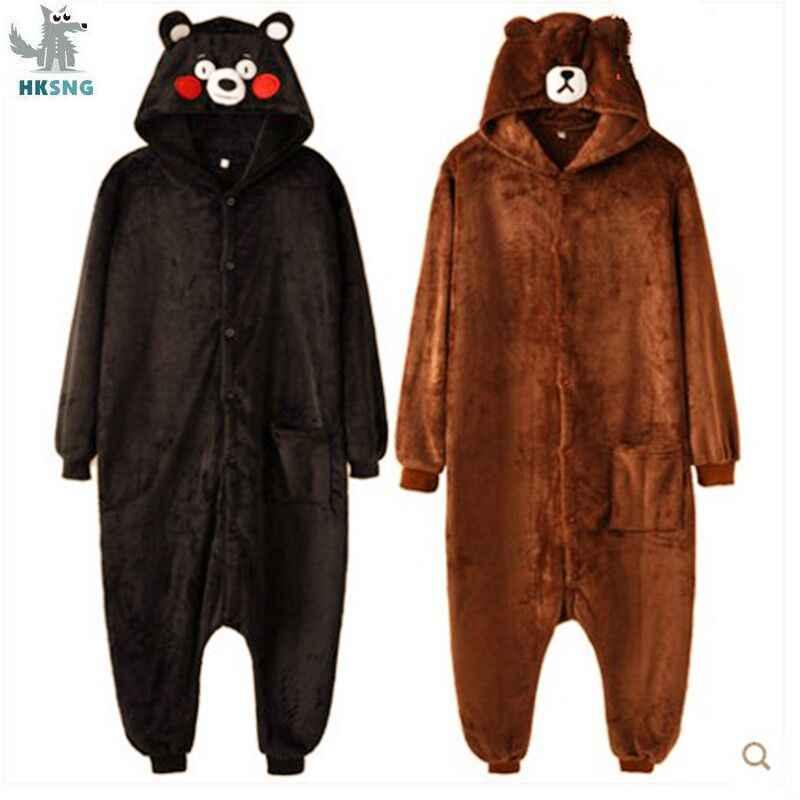 HKSNG Kigurumi ayı Onesies karikatür fanila kahverengi hayvan yetişkin Kumamon cadılar bayramı pijama Cosplay kostümleri tulumlar