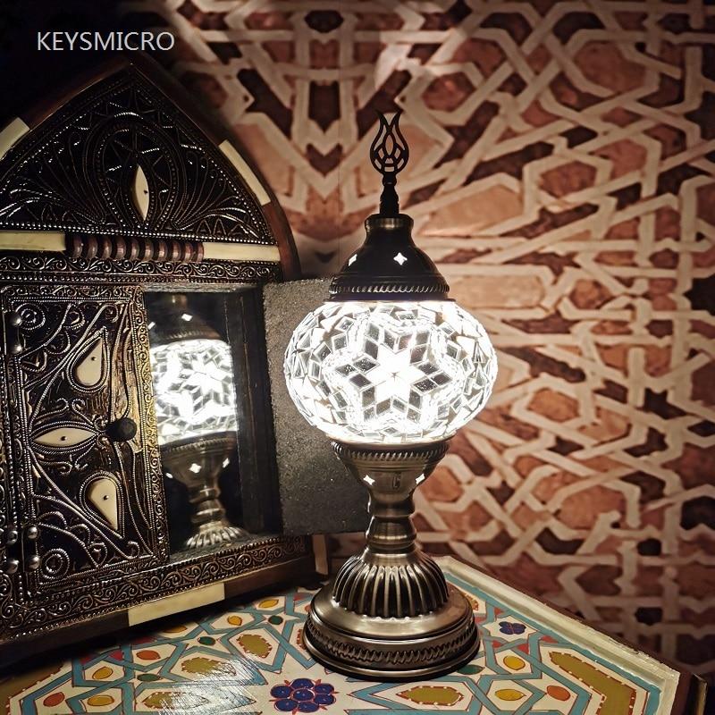 2020 Turkish mosaic table Lamp vintage art deco Handcrafted lamparas de mesa Glass romantic bed light lamparas con mosaicos