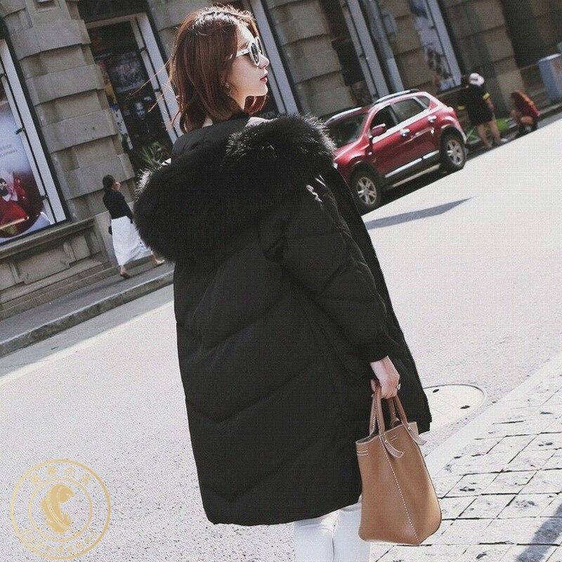 Women's Winter Down Jacket Hooded Long White Duck Down Coat Big Pocket Korean Plus Size Doudoune Femme Hiver KJ3736