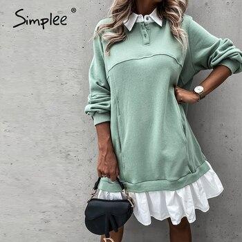 Simplee Casual Ruffle Dress Long sleeve loose straight dress Autumn Street Lapel fashion dress Fake two piece comfortable dress 8