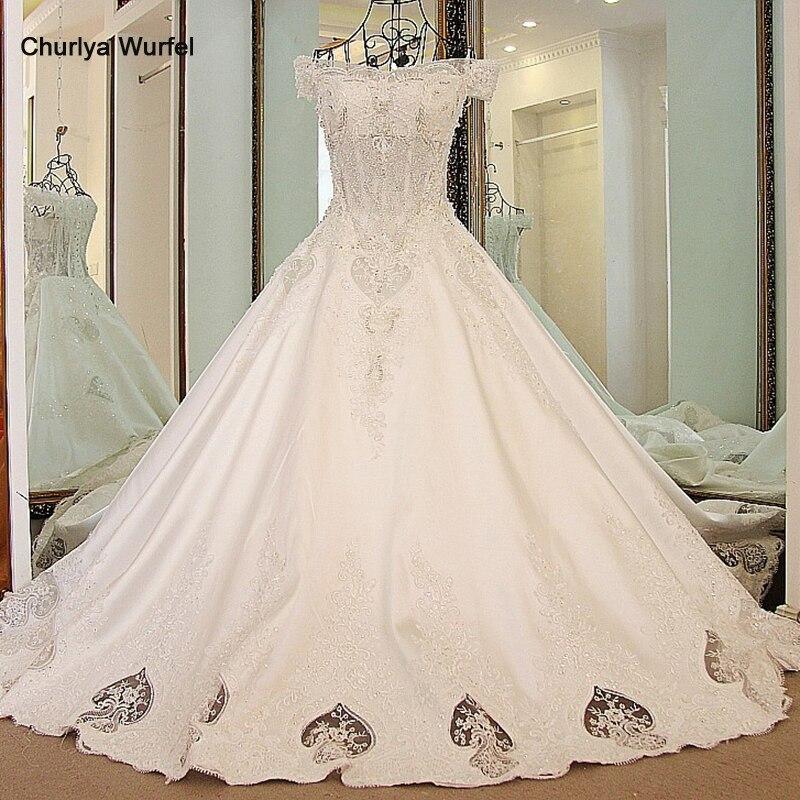 LS62770 Robes De Mariage 2018 Luxury Wedding Dress Off The Shoulder Corset Back Bling A Line Satin Luxury Dubai Wedding Dresses