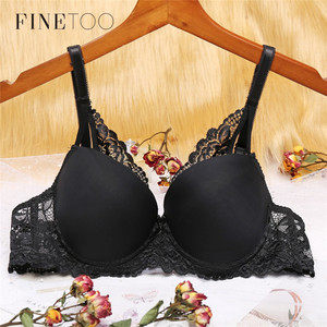 FINETOO Lace Push Up Bra Women Massage Cup Seamless Bras B C Cup Sexy Lingerie Ladies Brassiere Female Solid Color Underwear New