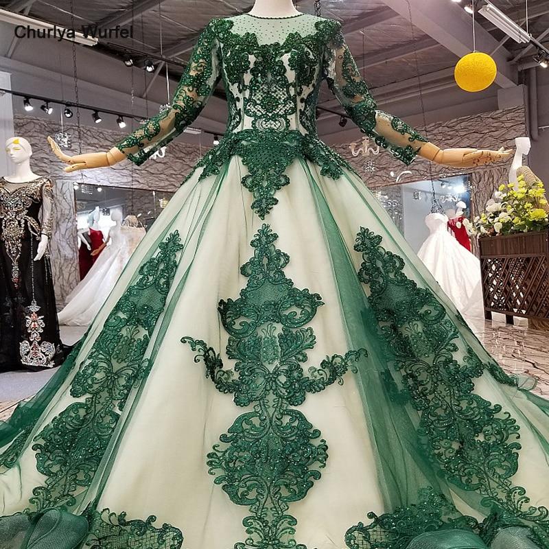 LS124710 robes de mariée vertes mères de mariées avec perles et robe de soirée musulmane gilliter robe de soirée musulmane avec train court