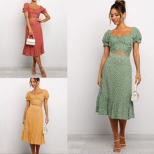 Summer Vintage Ruffles Print Midi Dress For Women 2021 Sexy Puff Sleeve Beach Sweet Floral Woman Long Dresses Two Piece