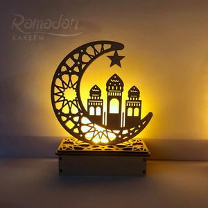 Image 5 - 원조 나무 공예 이드 무바라크 장식 라마단 및 이드 장식 홈 이슬람 무슬림 파티 용품 라마단 카림 이드 알 Adha