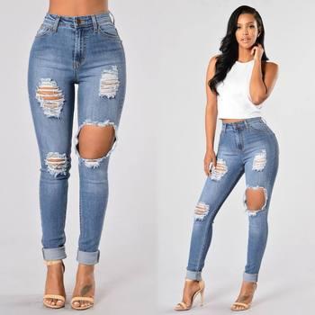 цена на Women's Skinny Hole Ripped Pencil Jeans Boyfriend Beggar Pants Legging Elastic Jeans Female High Waisted Denim Trousers 2XL 2020