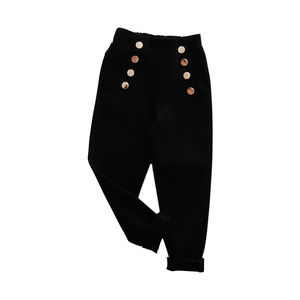 Image 2 - 2020 Girl Pants Autumn Winter Kids Clothes solid children pants for baby Girls Trousers toddlers white black button fashion