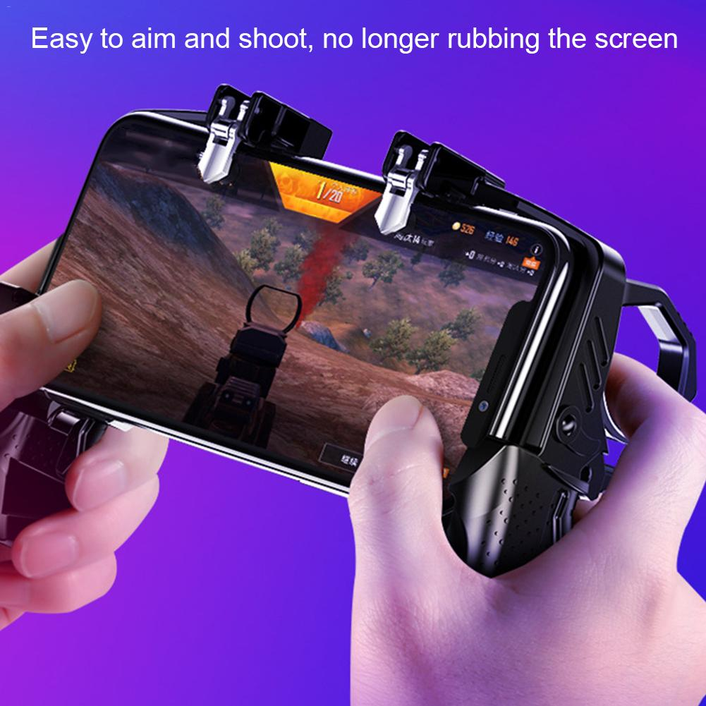 Portable Game Handl PUGB Helper Four Finger Linkage E Peace Elite Fast Shooting Button Controller For PUBG Rules Of Survival in Gamepads from Consumer Electronics