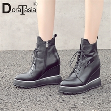 DORATASIA New Fashion Big Size 34-42 Brand Genuine Leather Height Increasing Shoes Woman Autumn Winter Ankle Boots Women