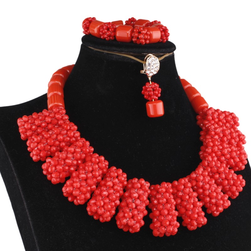 4UJewelry Bridal Jewelry Set Artificial Coral Beads Jewelry Set African Beads Balls Design Nigerian Weddings Necklace Set Women