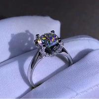 925 sterling silver 1ct Round Brilliant Cut Ring Diamond luxurious Moissanite ring Engagement jewelry Anniversary