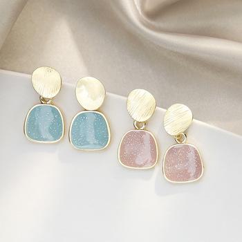 Proste geometryczne kolczyki małe błękitna kolczyki niszowy temperament jesienne i zimowe nowe kolczyki dla dziewczynek tanie i dobre opinie Brak CN (pochodzenie) Klasyczny moda ND-155 B4046 B4054 kolczyki wiszące GEOMETRIC Kamień półszlachetny Dziewczyny Rhinestone