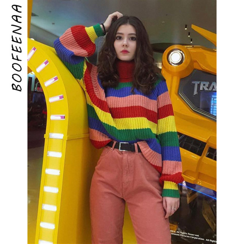 BOOFEENAA Rainbow Striped Knitted Turtleneck Sweater Women Fall Winter Tops 2019 Fashion Pullover Oversized Jumper C81-AG35