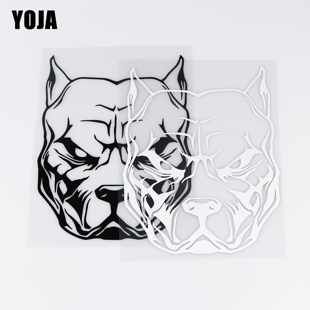 YOJA 14X18CM Dog Head Animal Decal Fashion Car Whole Decoration Stickers ZT4-0039