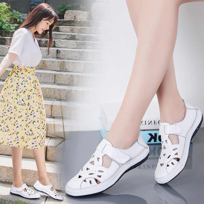 Giày Xăng Đan Nữ Mùa Hè Nữ Gái Thoải Mái Mắt Cá Chân Rỗng Mũi Tròn Giày Sandal Nữ Mềm Mại Bãi Biển Đế Nữ Plus Kích Thước