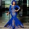 رداء أزرق ملكي حورية البحر فساتين سهرة طويلة بالإضافة إلى حجم الساتان فستان أم الزفاف 3/4 كم 2021 فستان رسمي للحفلات