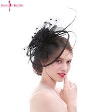 Beauty-Emily перо Свадебный головной убор знаменитостей вечерние аксессуары для волос венок Свадебная шляпа много цветов