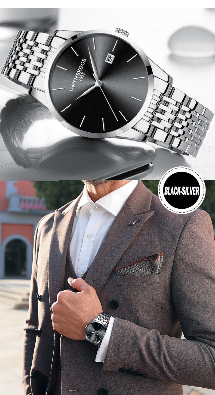 Ontheedge ultra fino masculino relógios de pulso