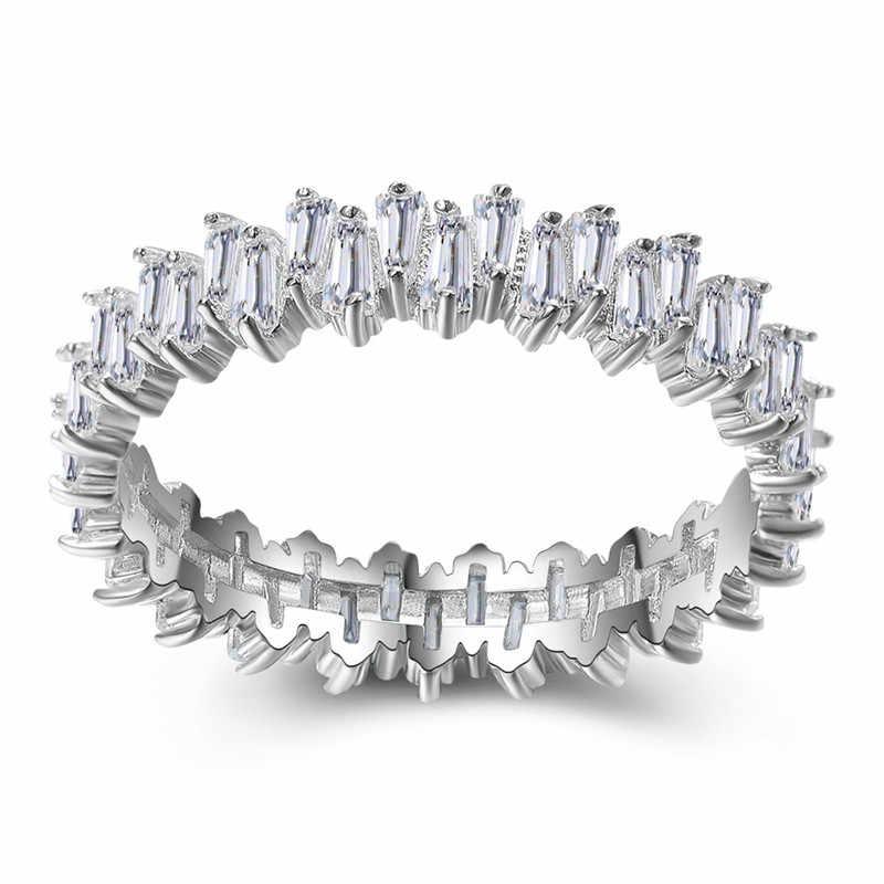 Nữ cao cấp Tự Nhiên Nhỏ Kim Cương Đá Thật 100% Bạc 925 Đính Vintage Nhẫn Cưới Cho Nữ