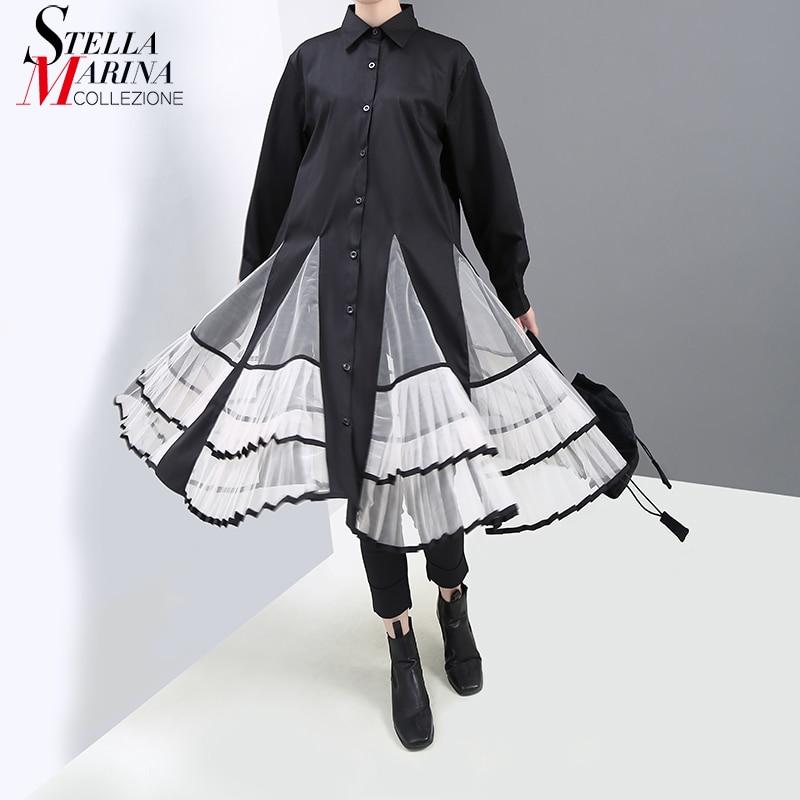 New 2019 Japanese Style Women Autumn Winter Black Pleated Shirt Dress Long Sleeve Lady Mesh Patchwork Lady Cute Midi Dress 5581