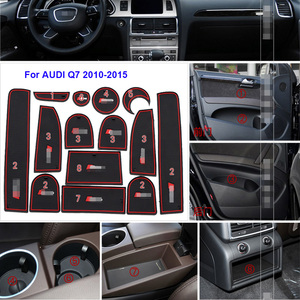 14pcs High Quality Non-Slip Rubber Interior Car Door Armrest Storage Panel Mat Cup Holder Slot Pad Cover Sticker For AUDI Q7