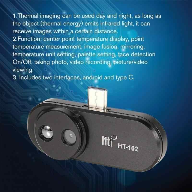 2019 הכי חדש HT-102 מדחום מטר תכליתי כף יד זיהוי נייד טלפון אינפרא אדום גבוהה תרמית Imager אנדרואיד סוג C
