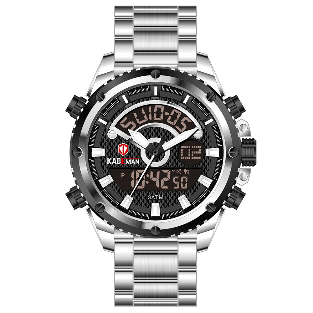 KADEMAN Men Quartz Watch Steel Digital Display Business Wristwatch Waterproof Military Clock Reloj Hombre