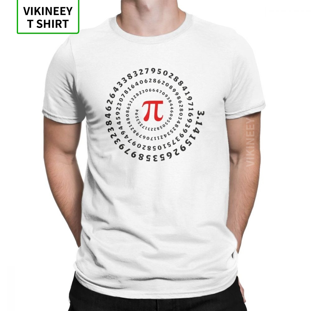 Men T Shirt Pi Pie Science Mathematics Math Funny Short Sleeve Geek Nerd Tees Crew Neck Tops 100% Cotton Gift Idea T-Shirt