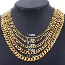 Для мужчин s Цепочки и ожерелья s цепи Нержавеющая сталь серебристый, черный золотой Цепочки и ожерелья для Для мужчин Для женщин кубинский Davieslee ювелирных изделий 3/5/7/9/11 мм DLKNM08