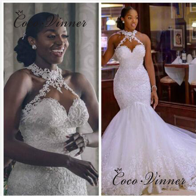 Halter Neck Sexy Illusion Back Lace Vintage Mermaid Wedding Dress 2021 Africa New Lace Appliques Custom Made Bride Dress W0802 1