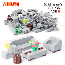 80pcs City House Sitting Room Furniture Sofa Table DIY Building Blocks Bricks Toys Accessories Decorate Compatible with Lego