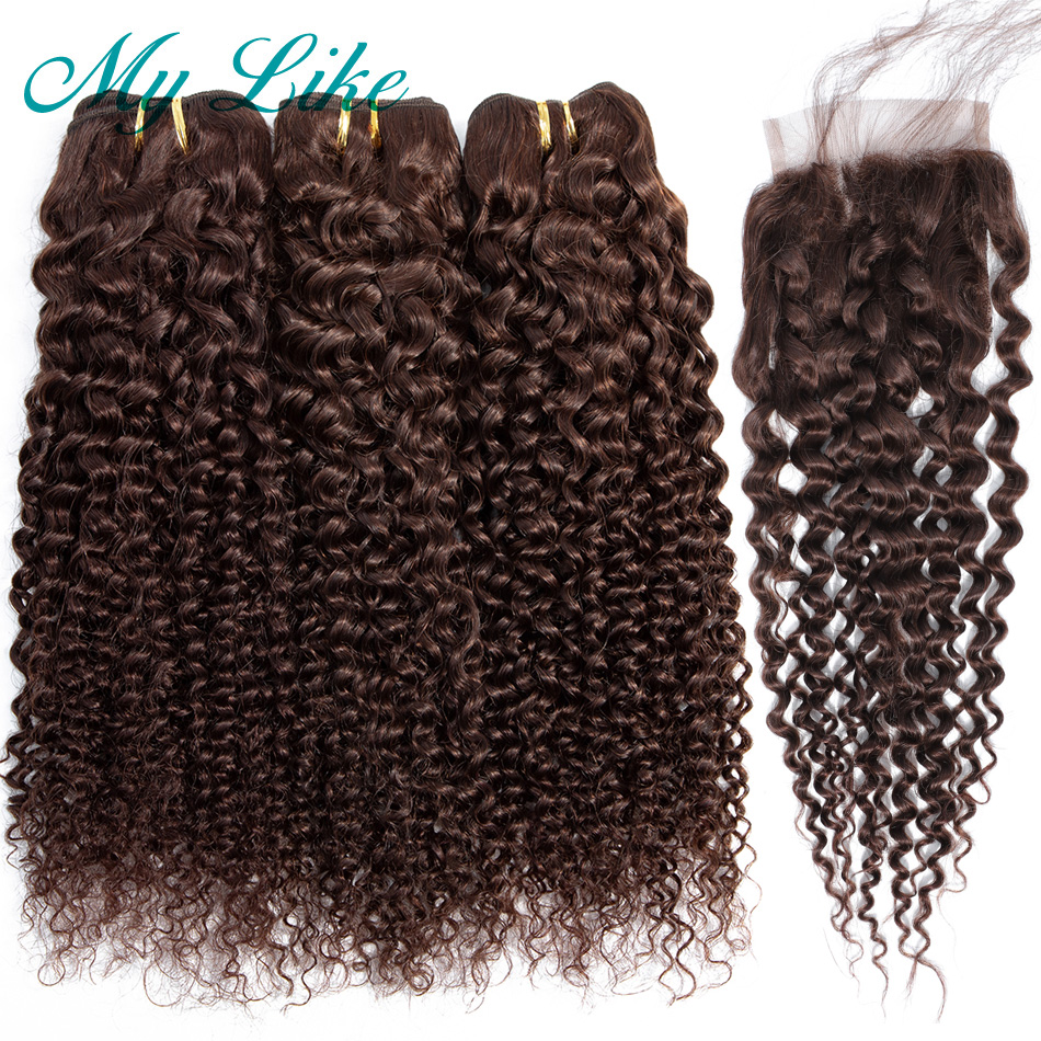 My Like Burmese Hair 3 Bundles With Lace Closure #2 Dark Brown Non-remy Kinky Curly Weave Human Hair Bundles With Closure