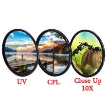 KnightX UV CPL polarize kapalı makro kamera dslr Lens filtre 49mm 52mm 55mm 58mm 62mm 67mm 72mm 77mm ışık aksesuarları dslr