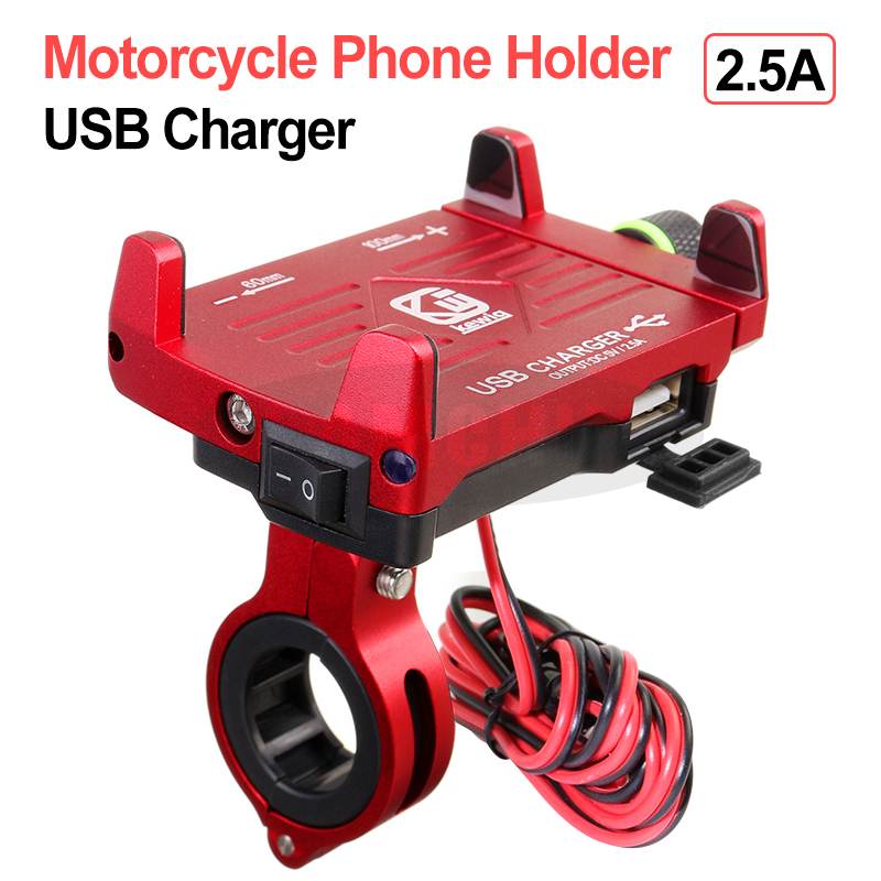 For Electric Car Motorcycle Holder Aluminum Alloy Motorcycle Phone Holder With 12/24V USB Charger Adjustable Mobile Phone Stand