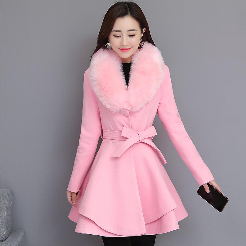 Épaississement chaud laine veste femmes hiver nouveau 2020 hiver laine manteau femmes longue mince grand col de fourrure manteaux femme vestes rouge