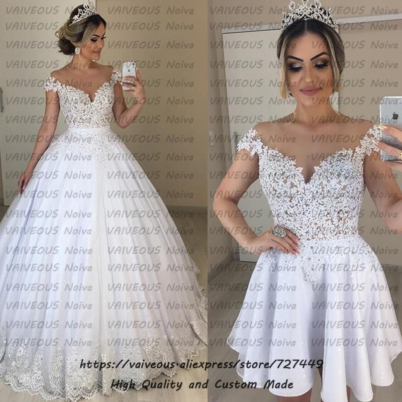 Vestido de Noiva 2 em 1 Cheap Ball Gown 2 in 1 Wedding Dress 2019 Sexy