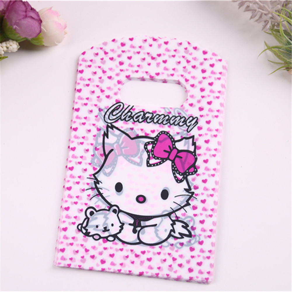 50pcs/lot Small Plastique Birthday Gift Packaging Bags With Kitty Pink Lovely Mini Party Christmas Candy Bags With Heart