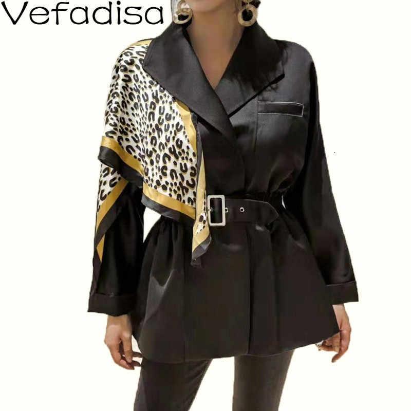 Vefadisa Cintura Rappezzatura Sottile del Cappotto 2019 Autunno Inverno Della Stampa Del Leopardo Sciarpa di Seta della Decorazione Cappotto Donna Nero casual Cappotto QYF1070