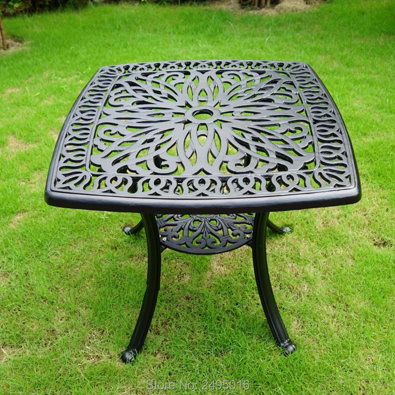 62x62cm Square Cast Aluminum Coffee Table For Garden Leisure Outdoor Furniture Used For Years
